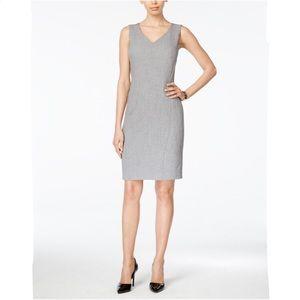 Kasper Grey V-Neck Sheath Dress Size 12